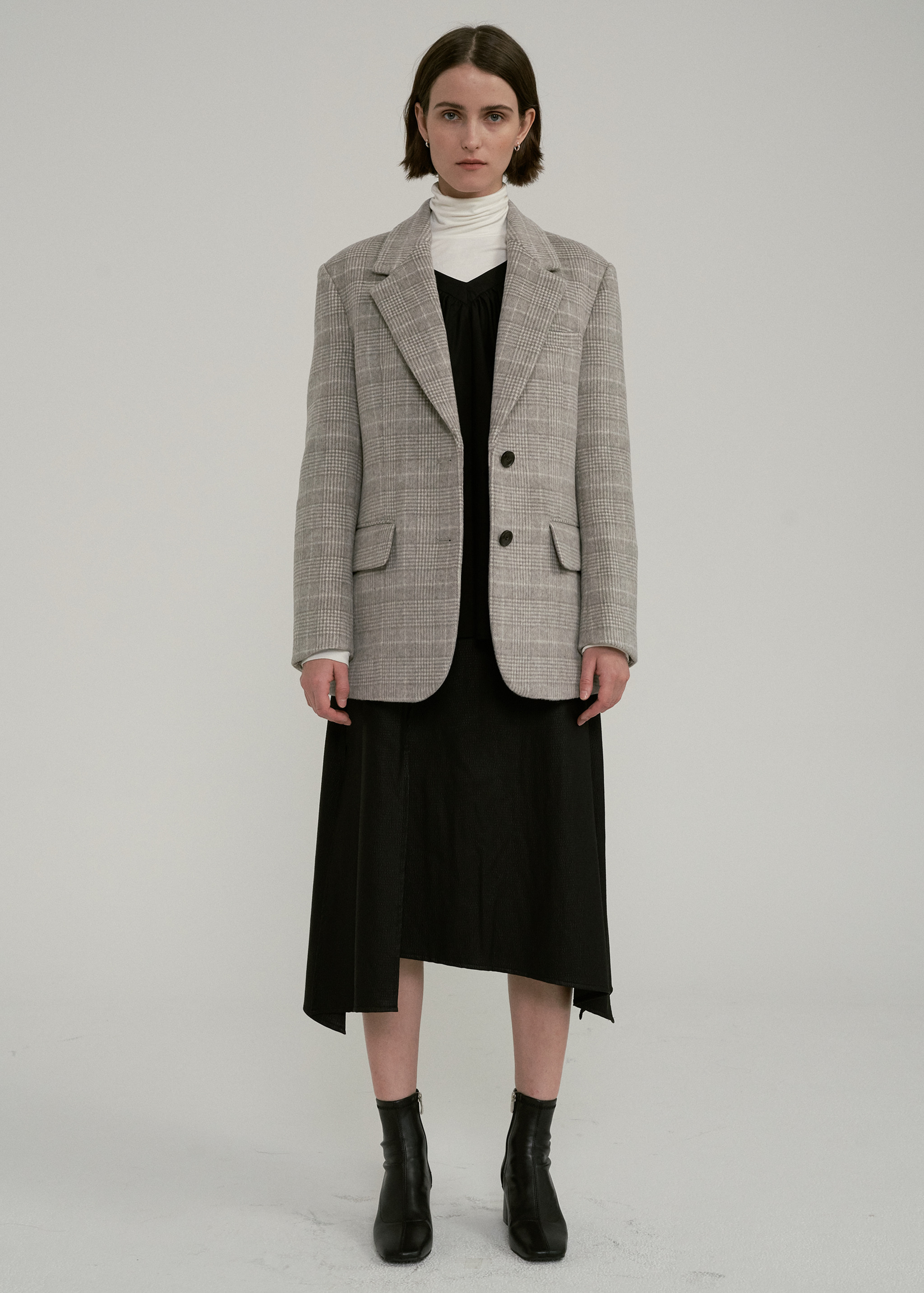 WOOL SINGLE BLAZER (CHECK)