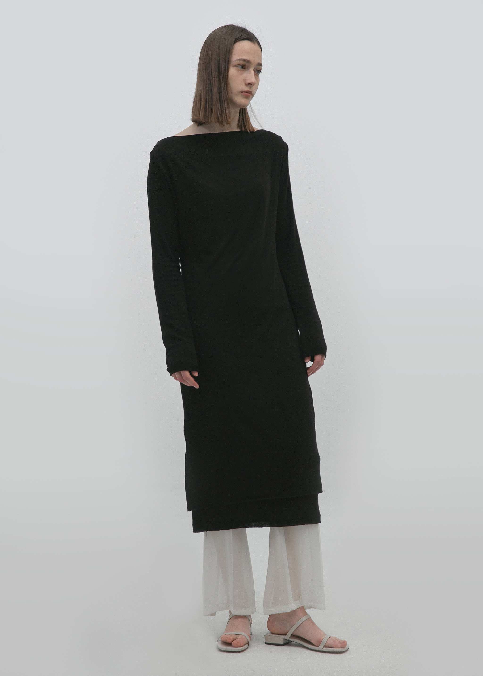 LAYERED JERSEY DRESS (BLACK)