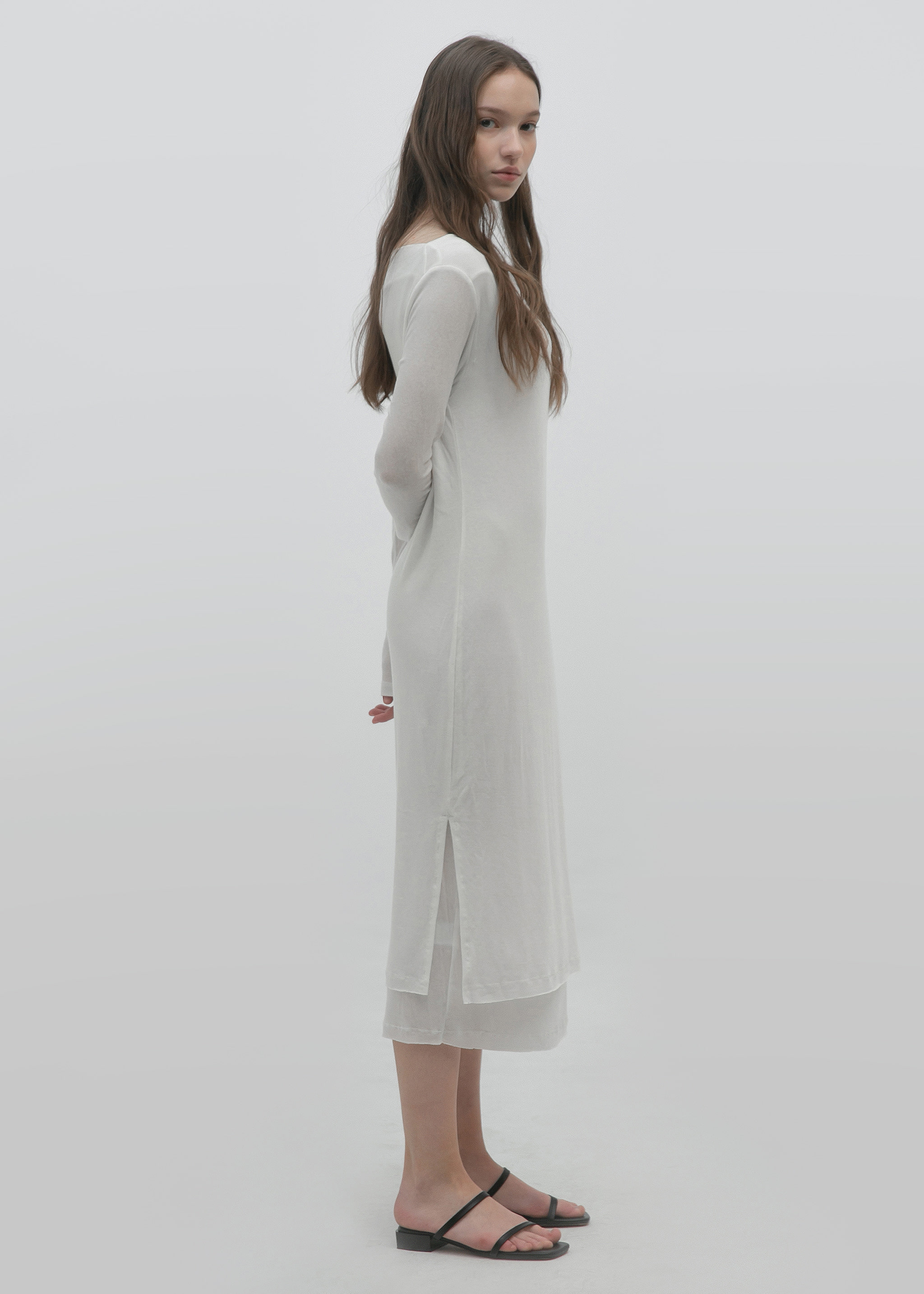 LAYERED JERSEY DRESS (CREAM)