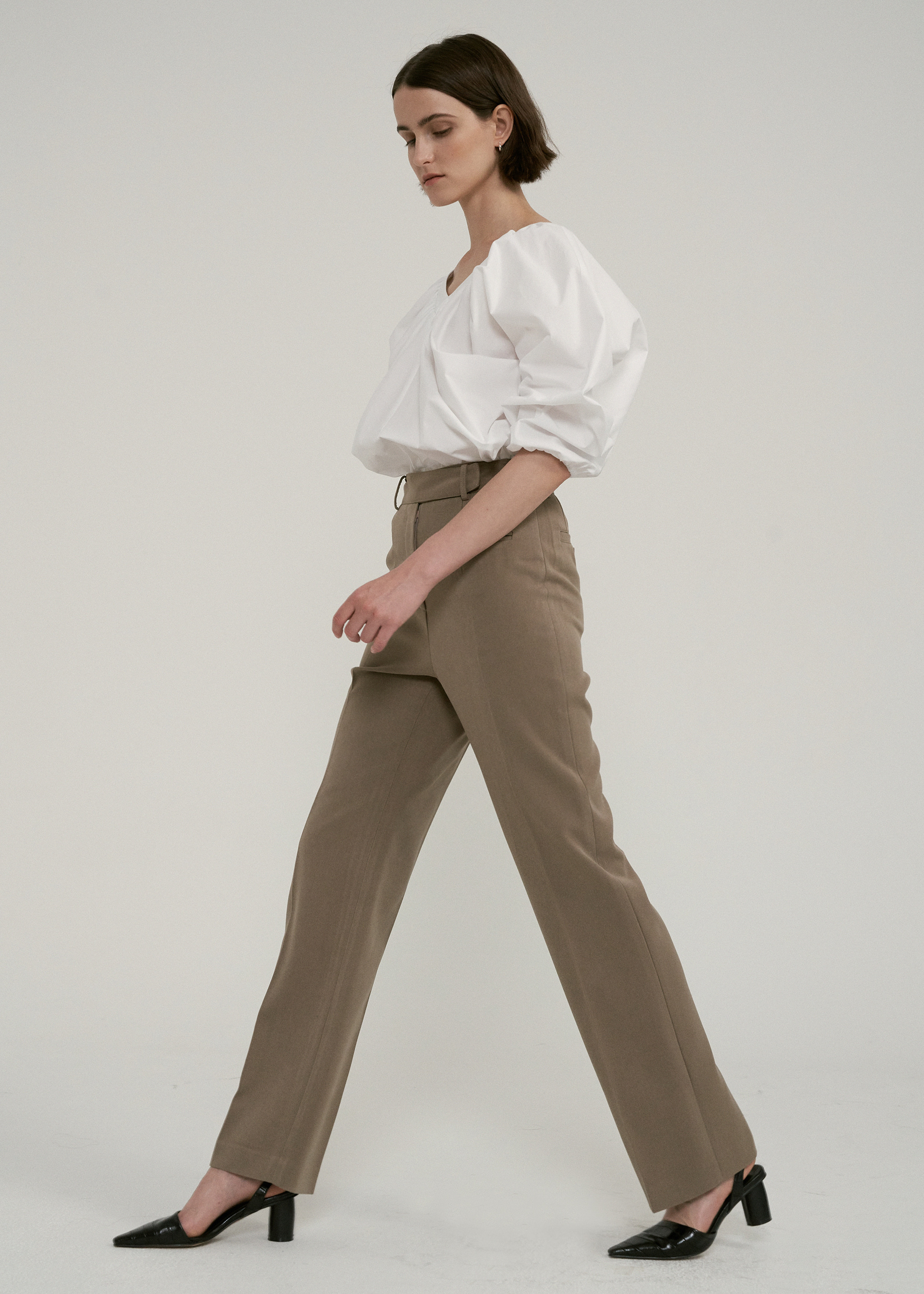 HIGH WAIST BUTTON POCKET PANTS (BROWN)