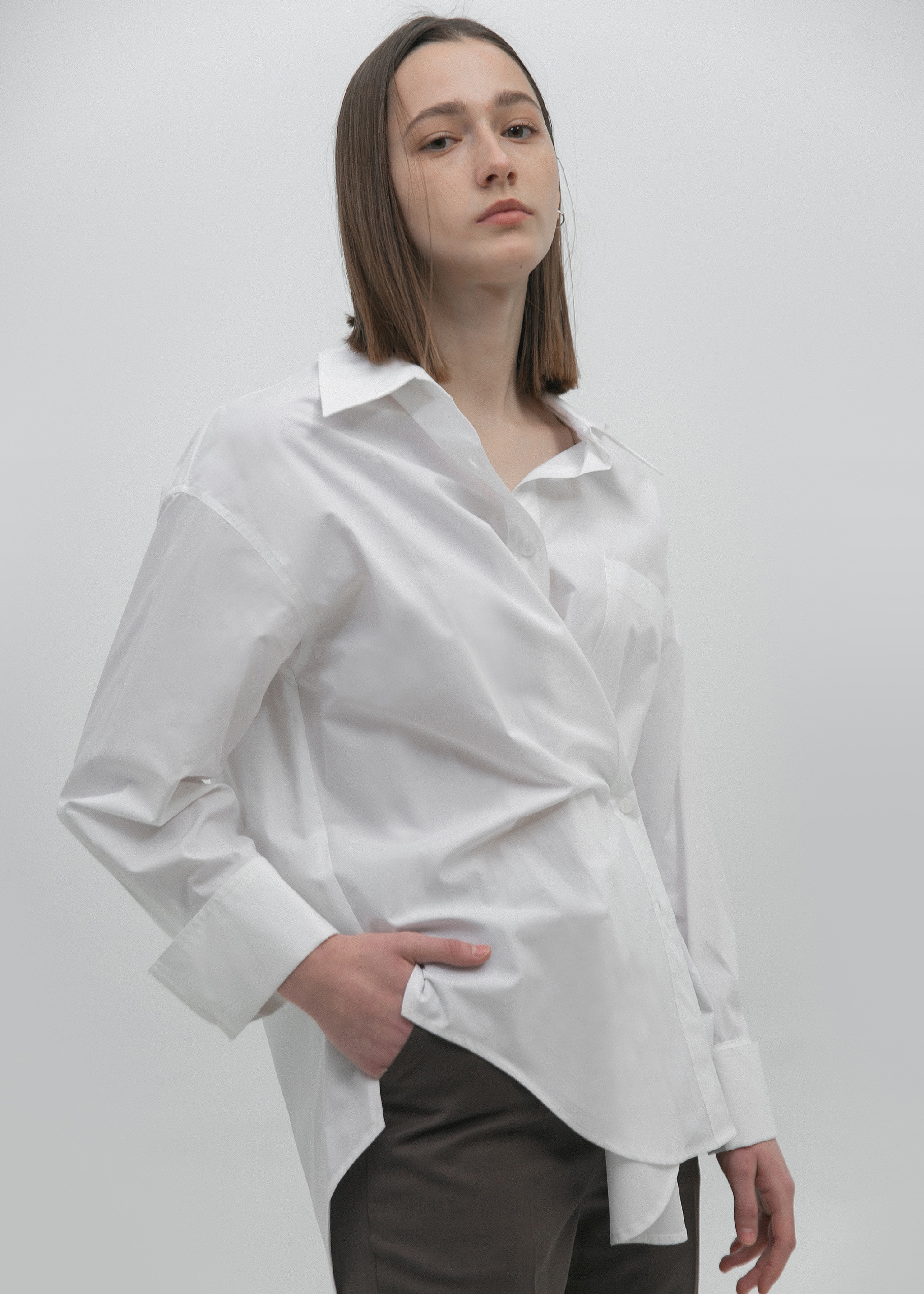 [2nd] TWO WAY COTTON SHIRT (WHITE)