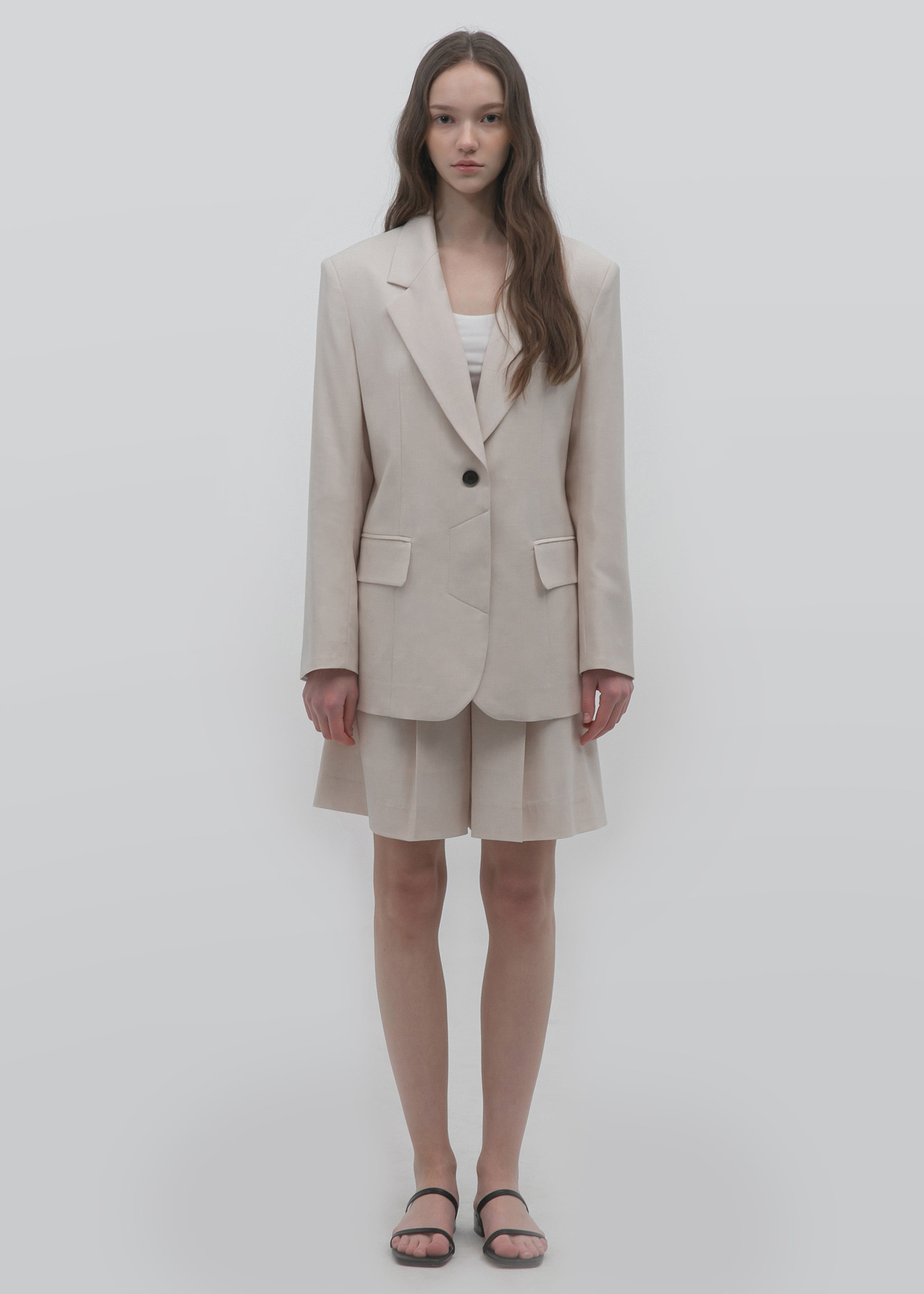 WOOL SINGLE BLAZER (BUTTER CREAM)